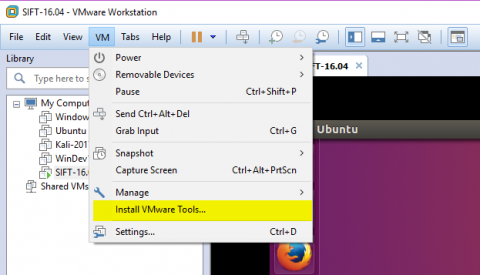 Installer les Vmware tools et partager un dossier