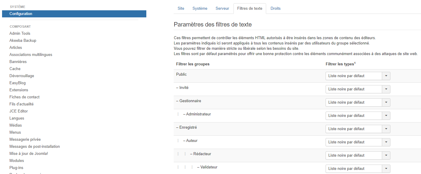 Option filtre de texte joomla